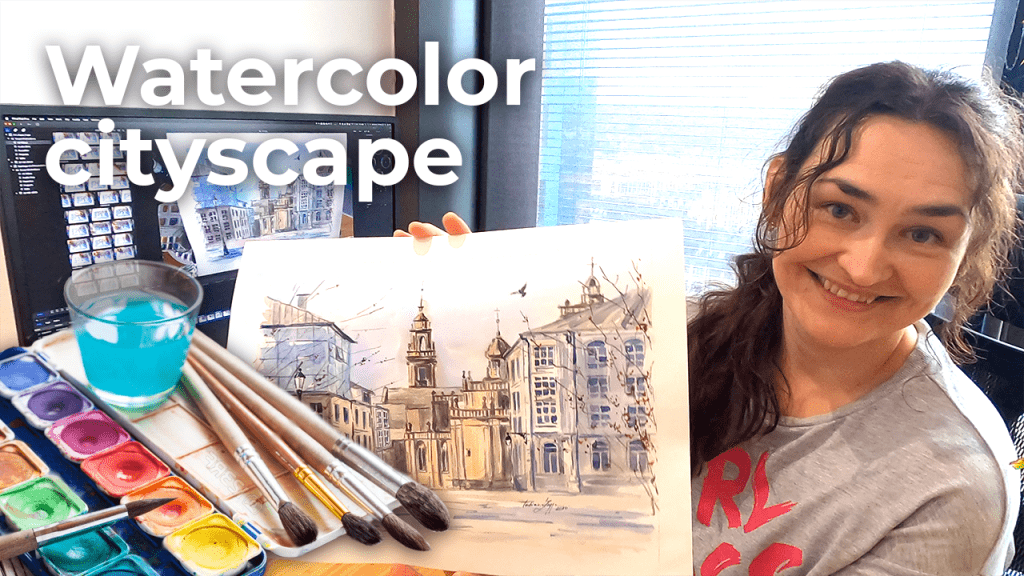 Watercolor cityscape, Lugo Spain   North of Spain [4K]