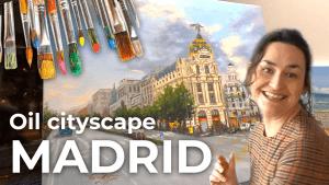 Oil cityscape, Madrid Spain [4K]