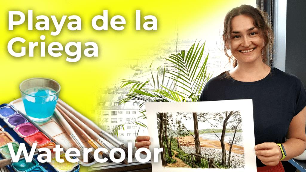 Watercolor Beach Griega   Spain [4K]
